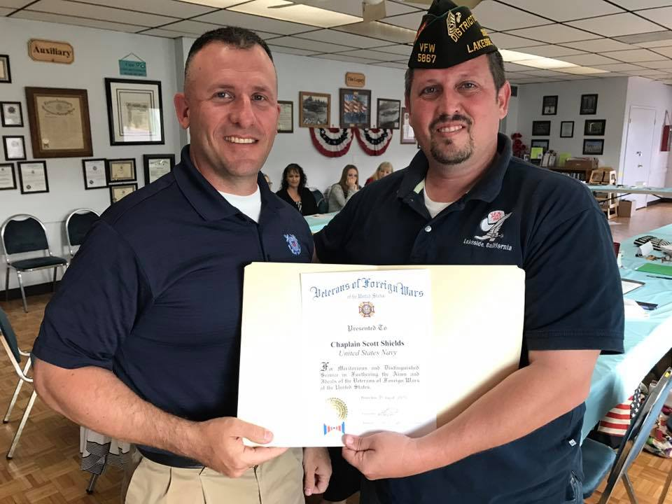 Post Commander Steven Williams (right) presents a certificate of appreciation to Chaplain Scott Shields (left) for his support of Carter-Smith VFW Post 5867's second Change Direction event, held May 2017. The goal of the Campaign to Change Direction is to change the culture of mental health in America so that all of those in need receive the care and support they deserve. The Campaign encourages all Americans to pay attention to their emotional well-being – and it reminds us that our emotional well-being is just as important as our physical well-being.