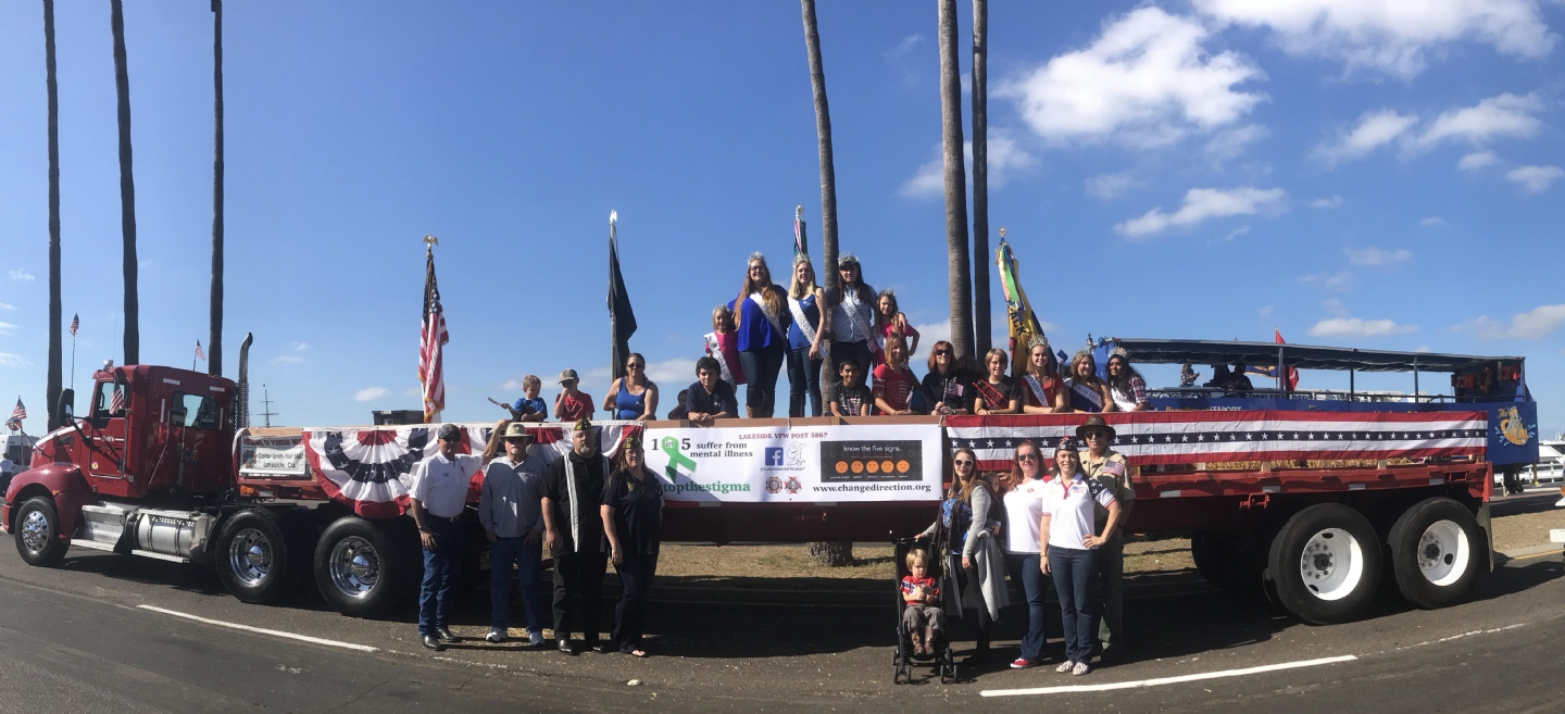 Carter-Smith VFW Post participates in the annual San Diego Veterans Day parade, displaying the Post's Change Direction banner.